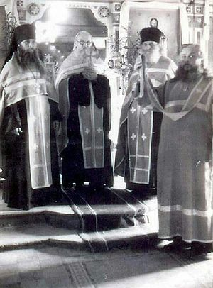 From L to R: Fr. Geronty (Gubanov), Fr. Zosima, and other priests from the brotherhood