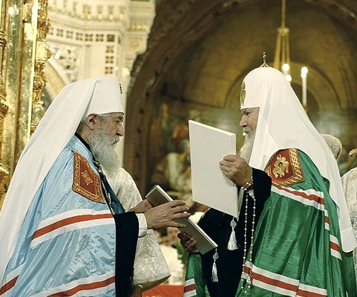 Metropolitan Laurus the head of the Russian Orthodox Church Outside of Russia and Patriarch Alexius II. Photo: Press Service of the Patriarch of Moscow and All Russia
