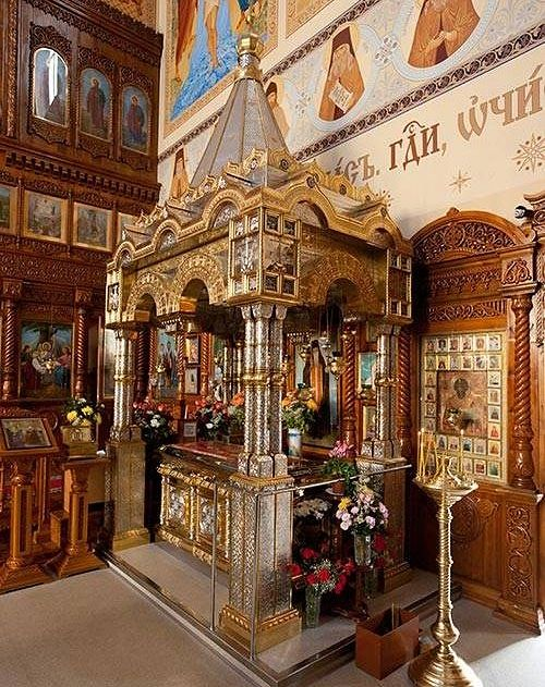 Reliquary with the relics of St. Sebastian in the Cathedral of the Entry of the Theotokos into the Temple, Karaganda