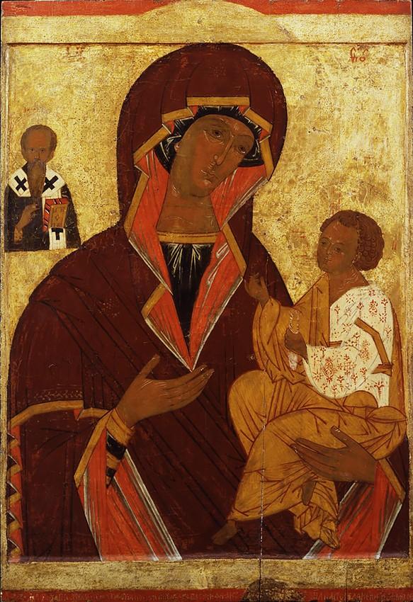Богоматеpь Одигитрия,  со святителем Василием Великим