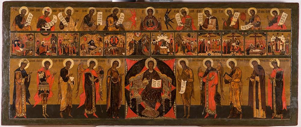Икона трехрядная: деисусный, праздничный и пророческий чины
