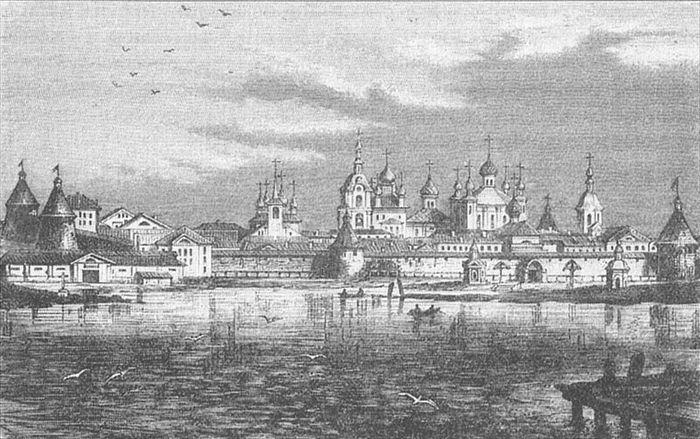 Соловецкий монастырь. Гравюра, 19-й век.