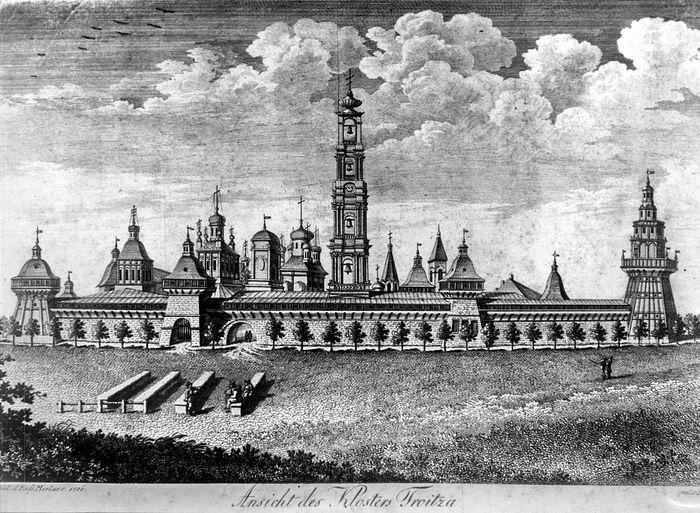 Вид Троице-Сергиевой Лавры с востока. Аллея на места засыпанного рва. С гравюры 1806 г.