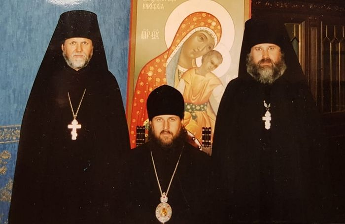 Three brothers (from left to right): Hieromonk Seraphim (the oldest, now an igumen); Bishop Daniel of Yuzhno-Sakhalinsk and Kuril Islands (the youngest, now the Metropolitan of Arkhangelsk and Kholmogory), Hieromonk Tikhon (middle brother, now Archbishop of Sakhalin and Kuril Islands). The administration of the Diocese of Yuzhno-Sakhalinsk. The 2000s.