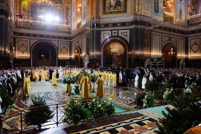 Патриарх Кирилл, Рождественское богослужение в Храме Христа Спасителя. 2018 г. Фото священника Игоря Палкина