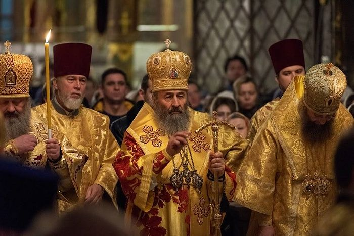 His Beatitude Metropolitan Onuphry presided at the evening services in the Trapeza church of Sts. Anthony and Theodosius of the Kiev Caves.