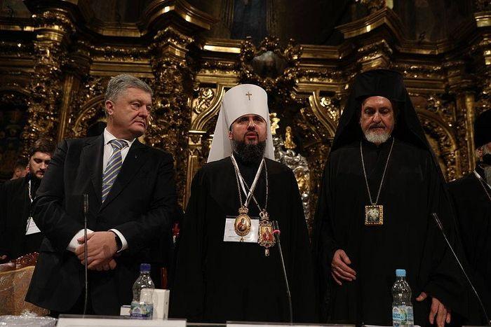 Петр Порошенко, митрополит ПЦУ Епифаний и митрополит Галльский Эммануил