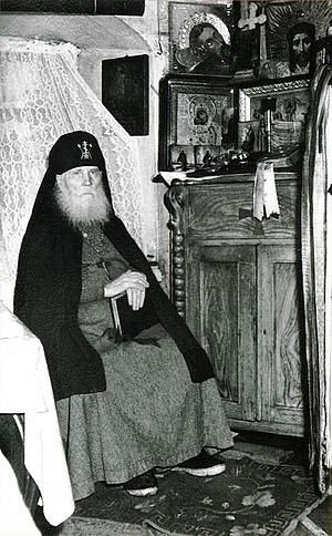 Schema-Hieromonk Symeon (Zhelnin; 1869-1962) in his cell. His canonization took place in 2003