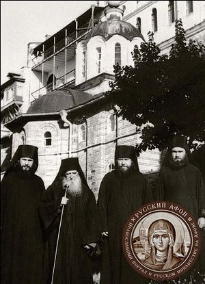 From left to right: Fr. Hippolytus, Fr. Dosifey/Dositheus (Sorochenkov), Schema-Archimandrite Ilian (Sorokin), Fr. Abel (Makedonov). Photo by Afonit.info