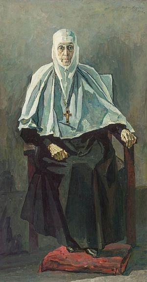Картина П.Д. Корина «Схиигумения Фамарь»