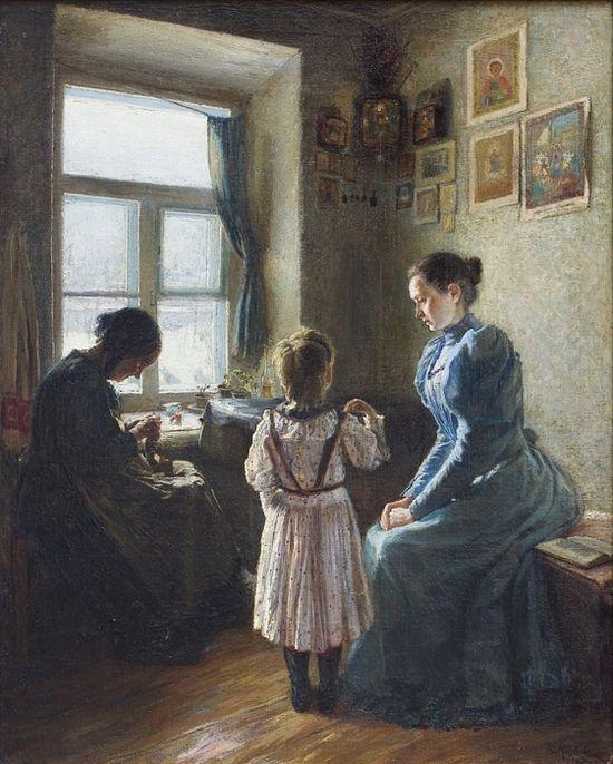 Детская молитва. Художник: И. Матвеев. 1895 г.