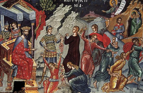 The slaying of the holy innocents in Bethlehem.