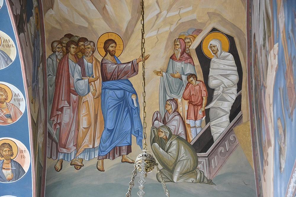 Воскрешение праведного Лазаря. Фреска