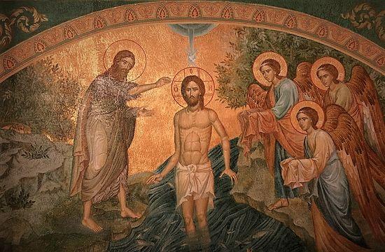 Крещение Господне. Фреска храма Иоанна Предтечи и 12-ти апостолов. Сретенский монастырь