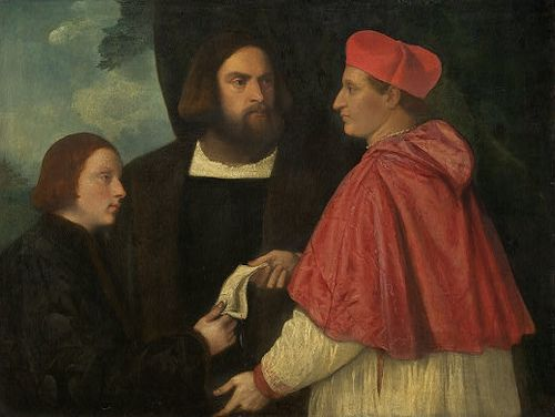 Girolamo and cardinal Marco Corner investing Marco, abbot of Carrara, with his benefice, Titian, ca 1520> Photo: Wikipedia