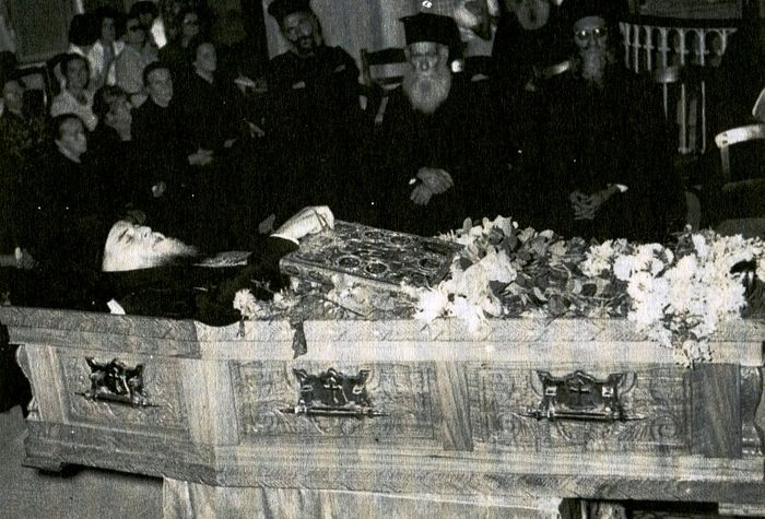 The coffin with Fr. Benedict's body