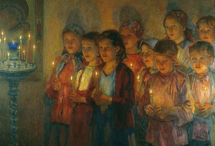 Н. П. Богданов-Бельский, «В церкви», 1910-е гг.