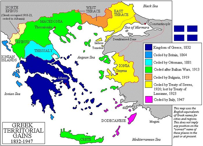 The growth of the territory of Greece in the 19th and 20th centuries. Photo: Wikipedia