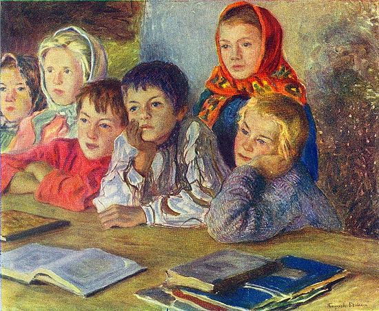 Дети на уроке. Художник: Николай Богданов-Бельский