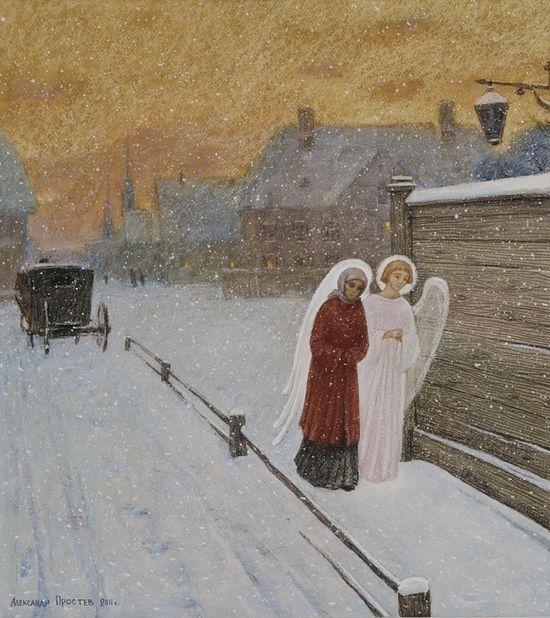 Вечер в зимнем Петербурге. Художник: Александр Простев