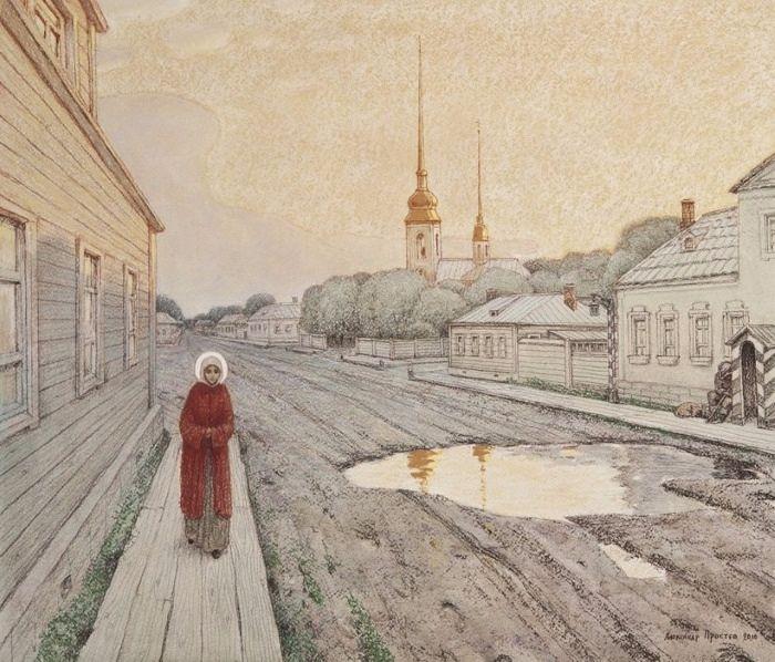 Днем блаженная Ксения бродила по городу. Художник: Александр Простев