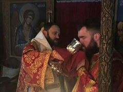 Schismatic bishop serves Liturgy at Pantocrator Monastery on Mt. Athos
