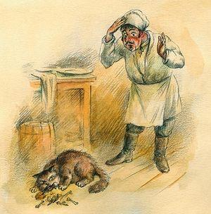 Иллюстрация к басне «Кот и повар»