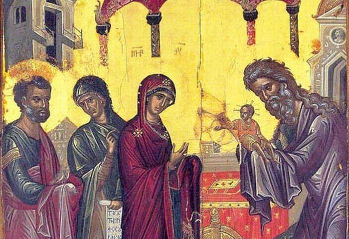 Сретение Господне. Икона из праздничного ряда собора монастыря Ставроникита на Афоне. Середина 16 века. Фрагмент