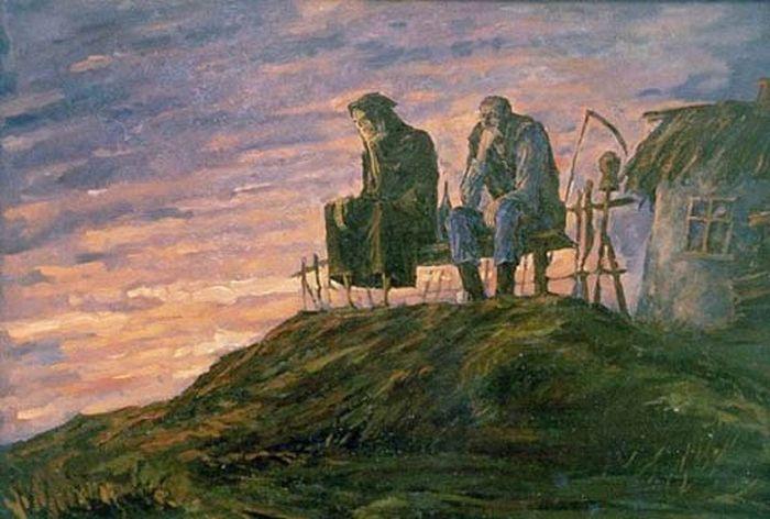 А.Н.Левченко, «Старик и Смерть». Изображение с сайта artchive.ru