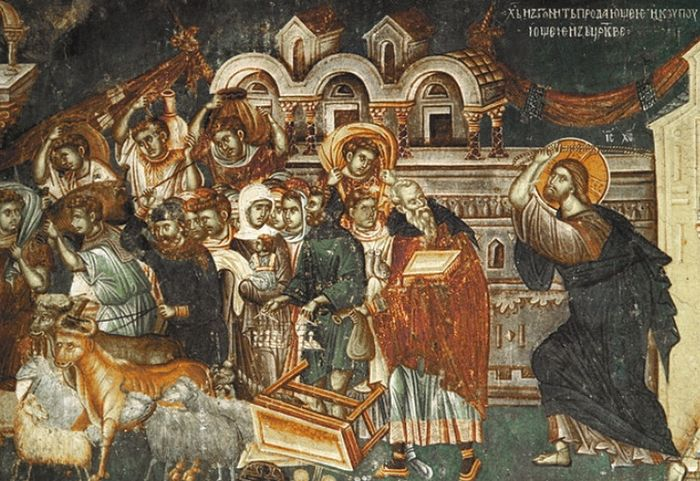 Fresco: Expulsion of the merchants from the temple in church St. Nikita, Banjani. Photo: whereismacedonia.org