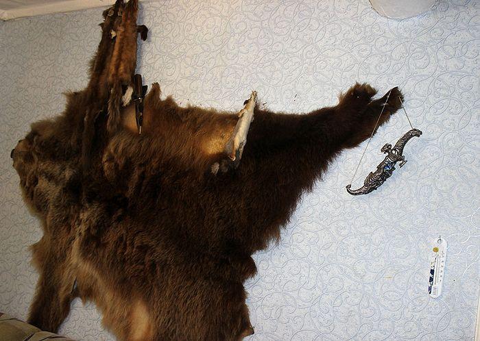 Вместо ковра в доме Герасима - шкура медведя