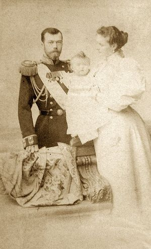 Emperor Nicholas II and Empress Alexandra with their first child, 1896