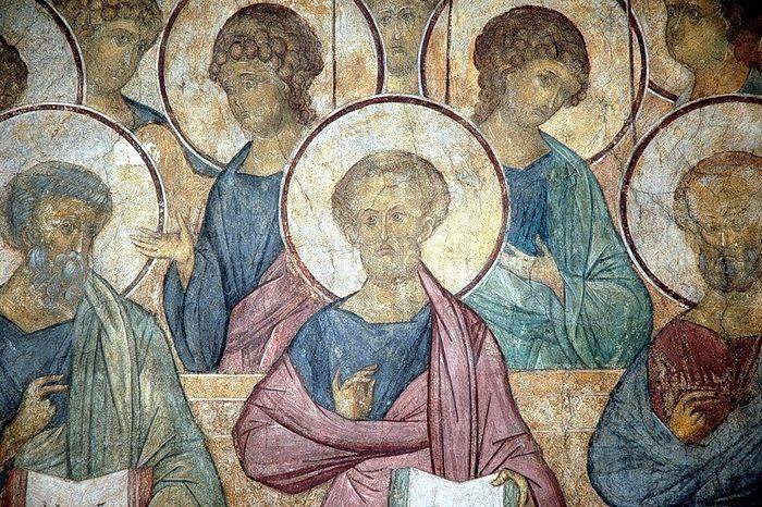Апостолы и ангелы. Страшный суд. Фреска преп. Андрея Рублева