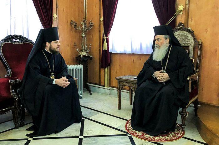 Епископ Барышевский Виктор встретился с Иерусалимским Патриархом Феофилом III