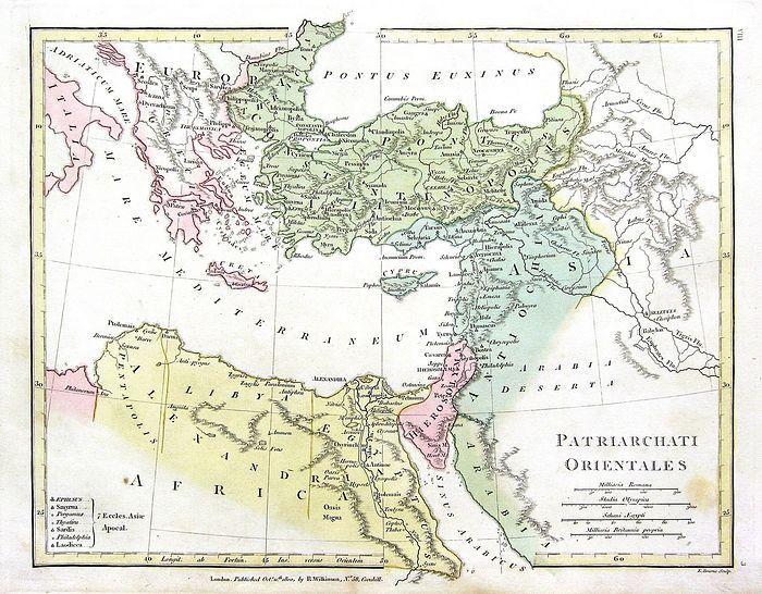 Карта Пентархии Юстиниана, с почти всей современной Грецией под Римом. Император Лев III Исавр переместил границу Константинопольского патриархата западу и к северу в VIII веке. Источник: wikipedia.org