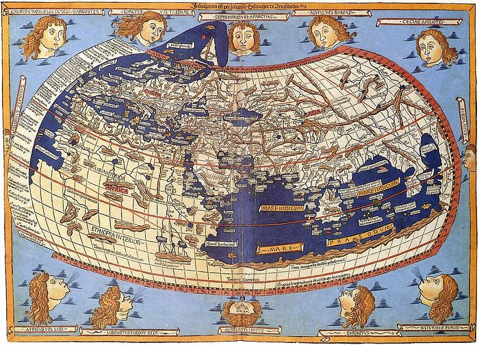 Карта XV века, изображающая описание Ойкумены Птолемеем (1482 год, гравюра Иоганна Шнитцера)