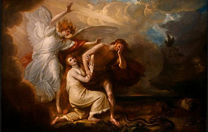 Изгнание Адама и Евы из рая. Худ. Джузеппе Цезари