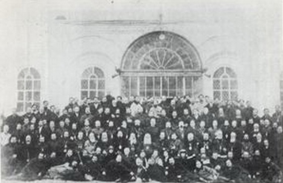 Delegates of the first All-Ukrainian Council of the UAOC-L in front of St. Sophia Cathedral in Kiev, October 1921