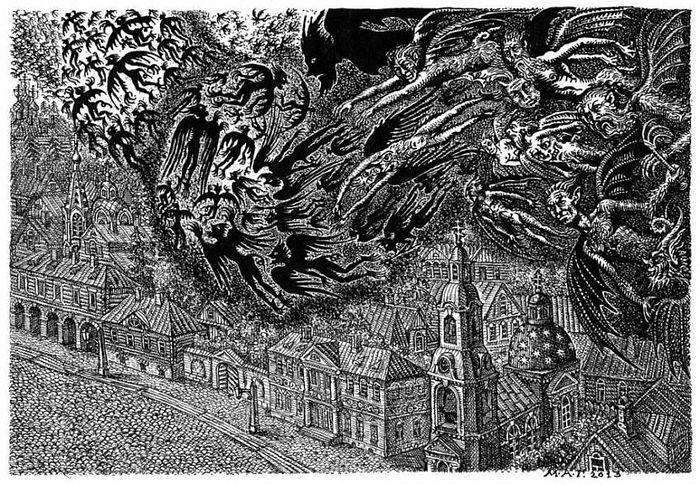 Иллюстрация к роману Ф.М. Достоевского «Бесы». Худ. М.А. Гавричков
