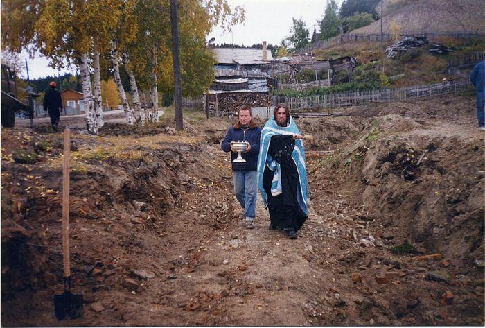 Освящение фундамента Покровского храма 21 сентября 1996 года