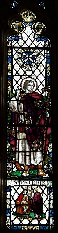 St. Patrick depicted on stained glass window of Anglican Armagh Cathedral's south aisle (kindly provided by the Dean of Armagh)
