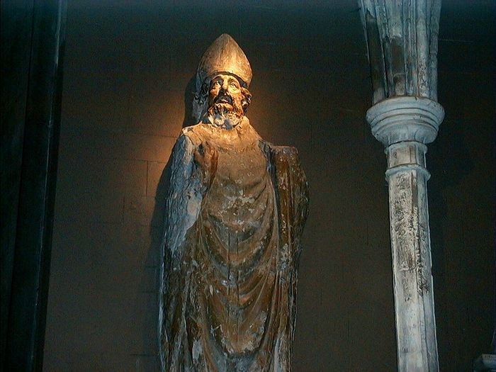 St. Patrick's ancient statue in the south transept of St. Patrick's Cathedral in Dublin (kindly provided by Dublin Cathedral's Education Officer)