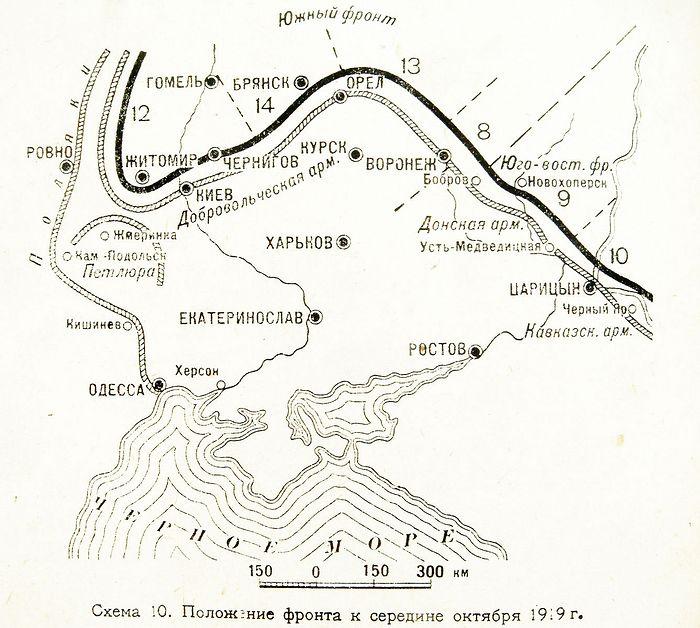 Максимальное продвижение армий ВСЮР в ходе похода на Москву