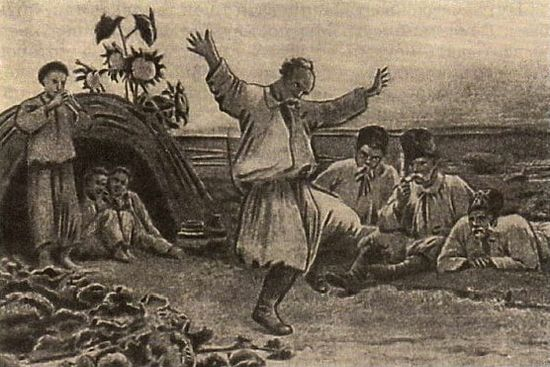 """Illustration for N.Gogol's story """"The Haunted Place"""" from the cycle """"Evenings on a Farm Near Dikanka."""" Grandfather dancing. Artist: M. Klodt."""
