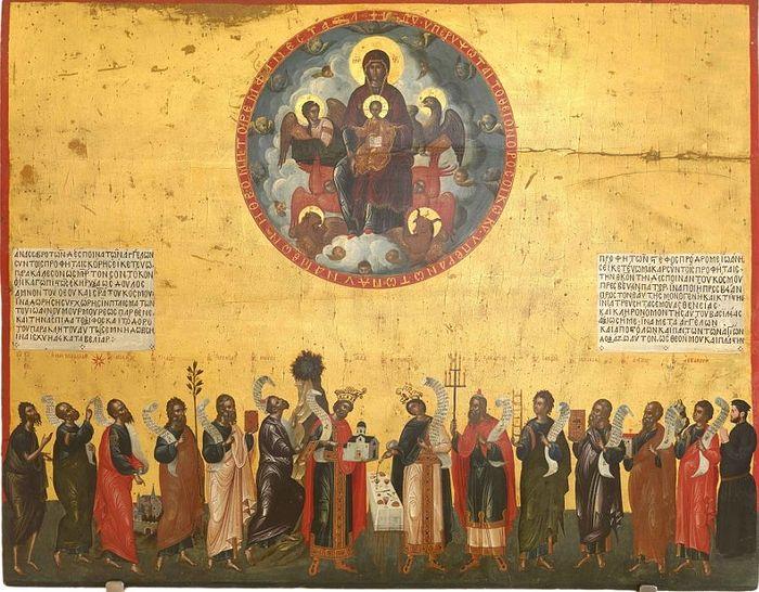 Salutations of the Theotokos, the Apostles. Cretan school. Venice, Italy. 16th C.. Photo: ruvera.ru