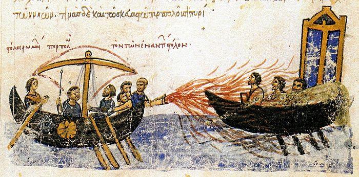 The Greeks repel the Arabs. 677-78. the Chronicle of John Skylitzes. Photo: ruvera.ru