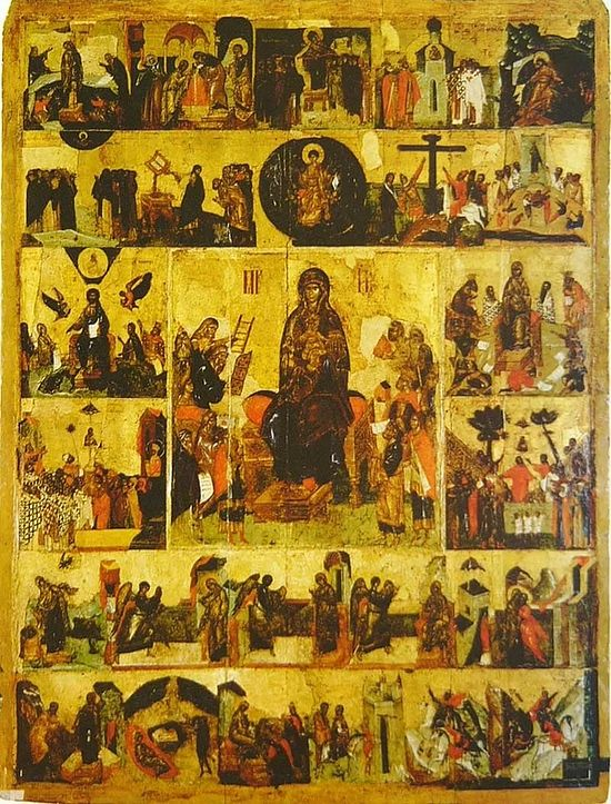 Icon of the Salutations of the Mother of God with the Akathist at the Moscow Dormition Cathedral, end of the 14th C.