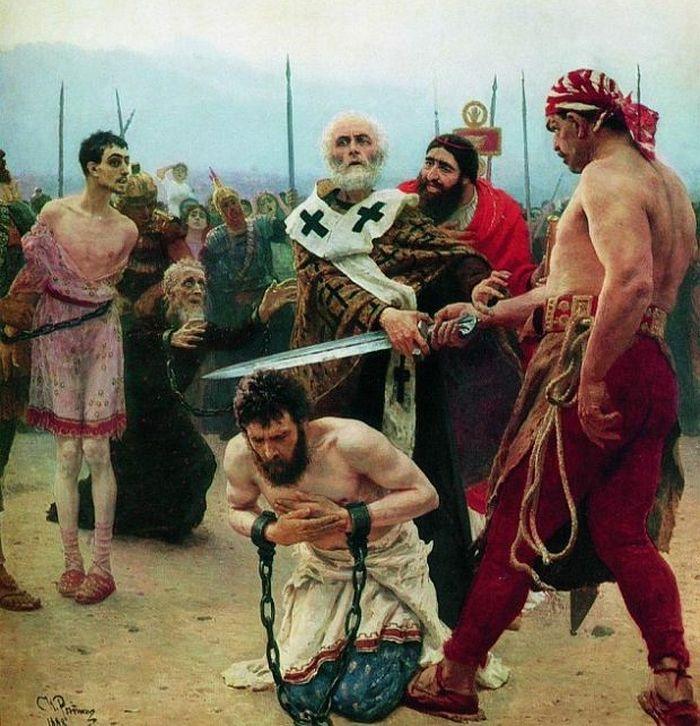 Илья Ефимович Репин – Николай Мирликийский избавляет от смерти трех невинно осужденных. 1888