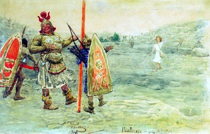 Илья Ефимович Репин – Давид и Голиаф. 1915