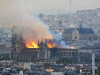 Предстоятель Русской Церкви выразил поддержку французскому народу в связи с пожаром в соборе Парижской Богоматери